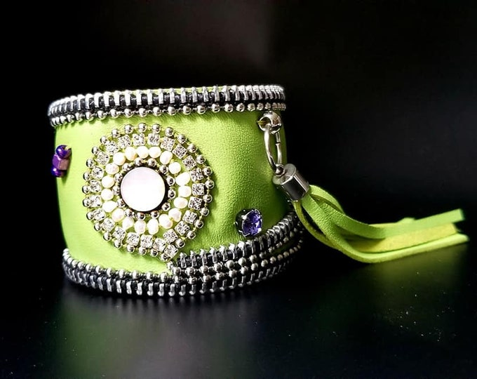 Lime Green and Pearl Leather Cuff