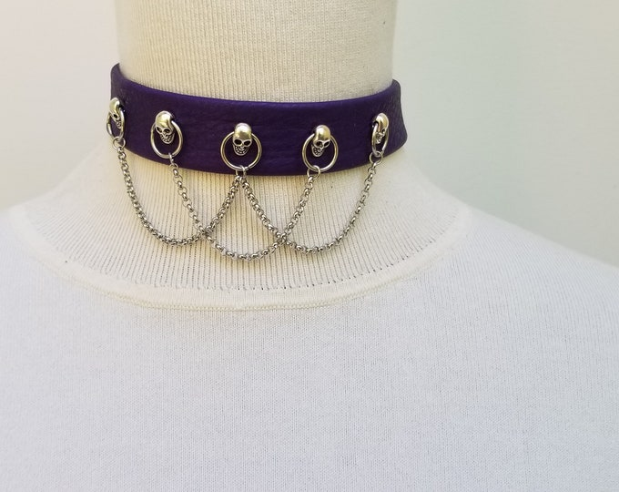 Purple Skull Choker with Chains
