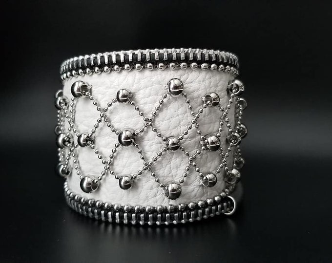 Ball and Chain White Leather Cuff