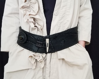 Black Laced Leather Belt and Black Stone