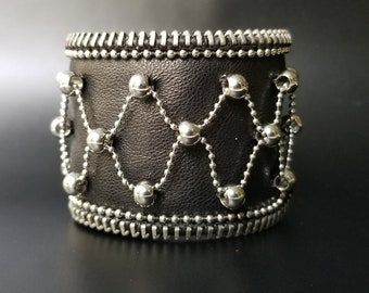 Ball and Chain Black Leather Cuff.