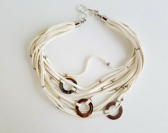 Multi Strand White Deer Leather Necklace.
