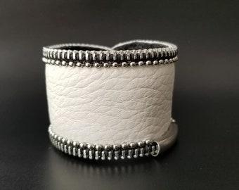 White Corvo Leather Cuff