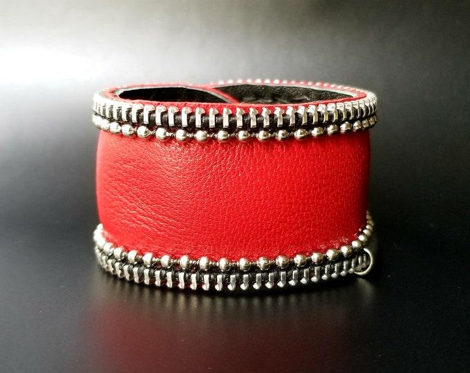 Red Corvo Leather Cuff.