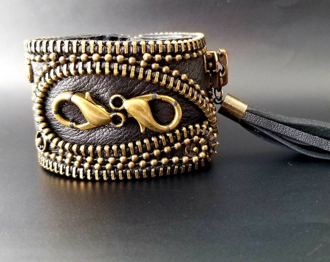 Steampunk Leather Cuff.