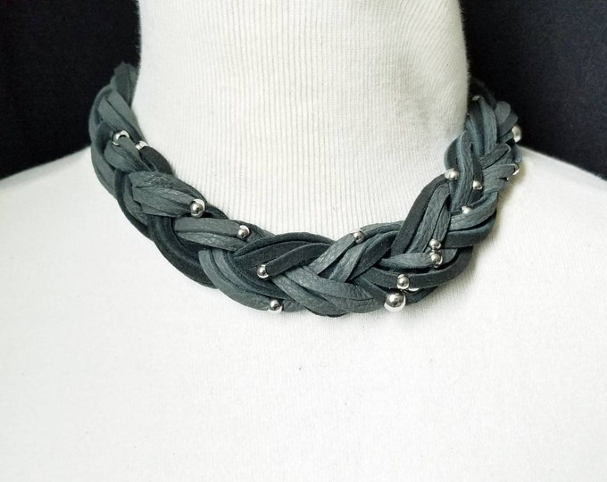 Braided Charcoal Choker