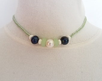 Pearls and Sea Glass Necklace