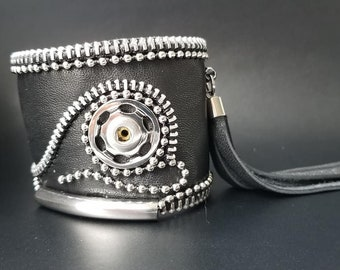 Black Leather Cuff. Zipper Leather Cuff