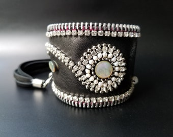 Bling and Pearls Black Leather Cuff.