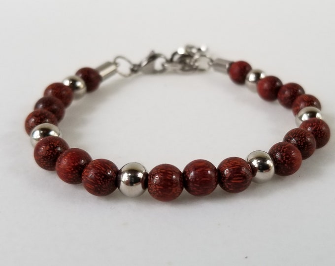 Red Sandalwood  Natural Mahogany and Stainless Steel Bracelet