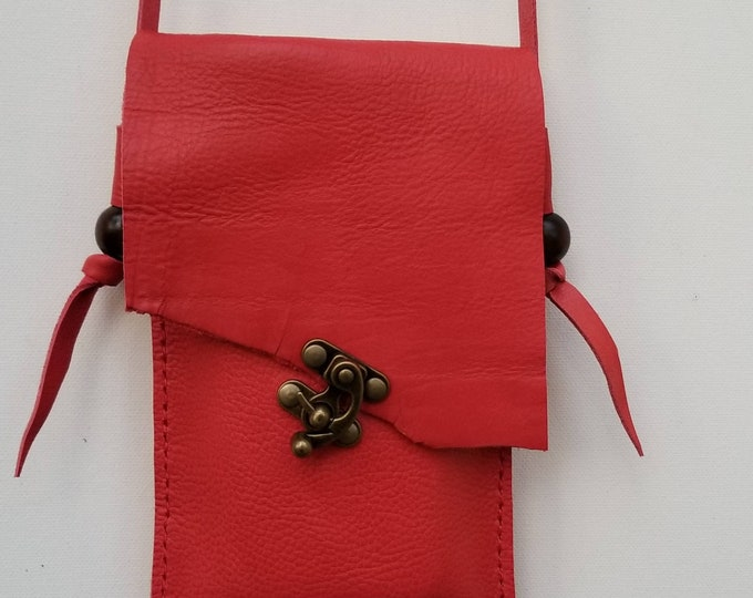 Cell Phone Red Leather Bag