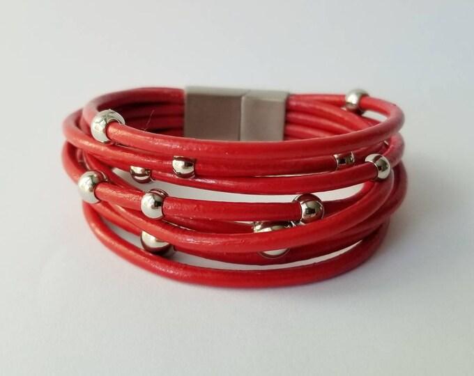 Multi Strand Red Leather Bracelet