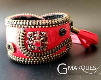 Red Steampunk Leather Cuff