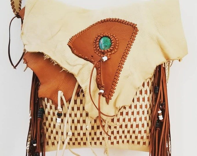 Cream and Brown Weaved Leather Bag accented with Chrysocolla Gemstone