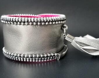 Corvo Silver Leather Cuff