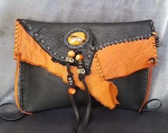 Black and Saddle Clutch Bag