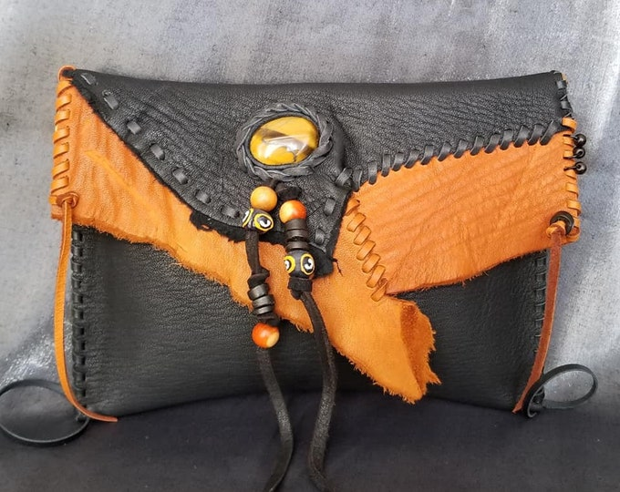 Black and Saddle Clutch Bag