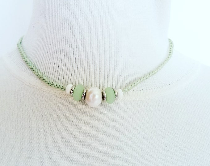 Pearl and Green Sea glass Beads.