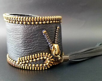 Black and Brass Leather Cuff