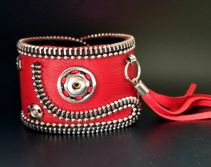 Red Leather Cuff