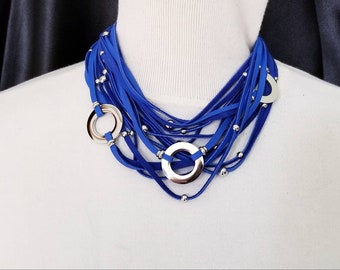 Blue Multi Strand Leather Necklace