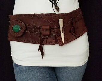 Chocolate Color Leather belt and Green Stone