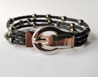 City Stainless Beads on Black Leather