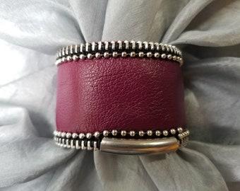 Wine Color Leather Cuff. Corvo Leather Cuff.