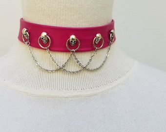 Pink Choker With Skull and Chains