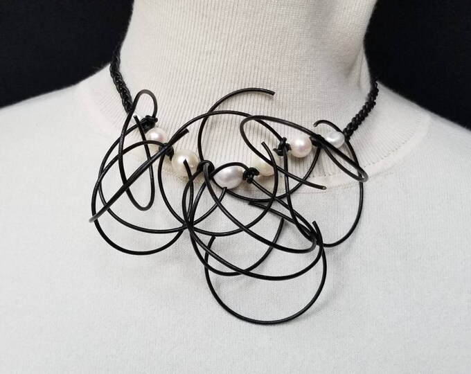 Large Pearl's and black Leather Cord Necklace