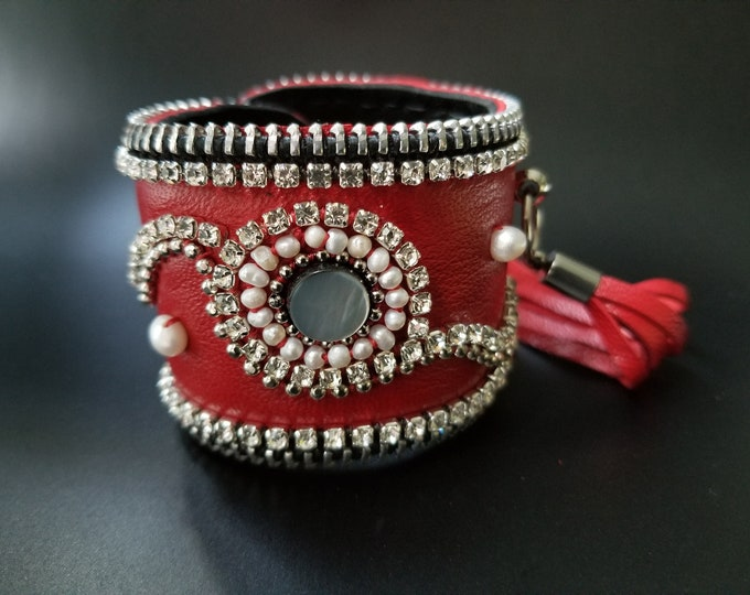 Bling and Pearls Red Leather Cuff.