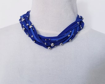 Braided Blue Lamb Skin Multi Strand Necklace