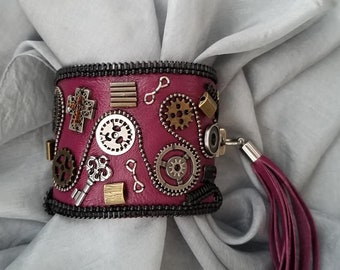 Steampunk Bungundy Leather Cuff