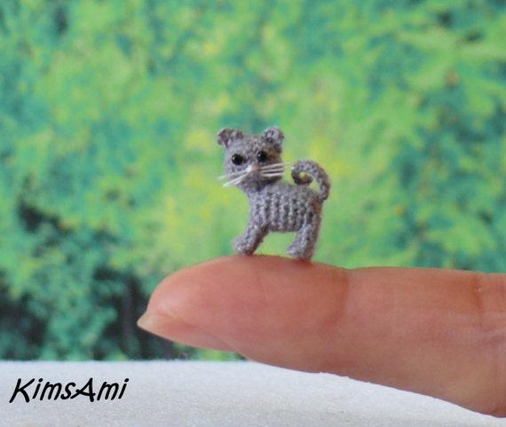 Mini Katze Baby Katze Grau Hand Gemacht Häkeln Amigurumi Etsy