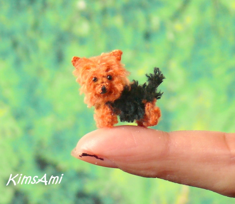 Mini Amigurumi Yorkshire Terrier Brown Black Comes With Etsy