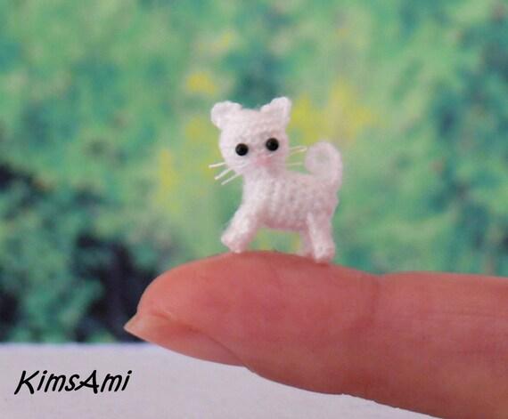 Mini Katze Baby Katze Weiss Hand Gemacht Häkeln Etsy