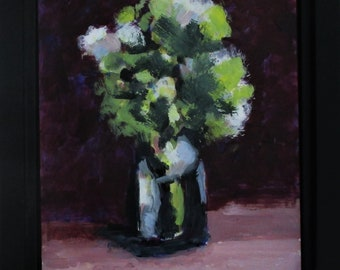 """Spring Flowers, Original Still Life Painting on Panel, 8"""" x 10"""", Free Shipping within USA"""