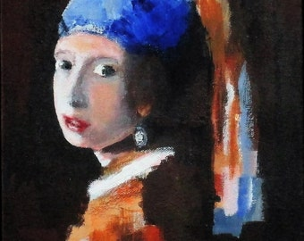 """Portrait Study Painting of Girl with a Pearl Earring by Vermeer on Deep Canvas, 8"""" x 10"""" x 1.5"""""""