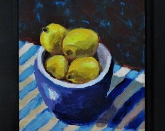 "Lemons with Blue Bowl, ""Lemons & Stripes"" Original Still Life Painting,  8"" x 10"", Free Shipping within USA"