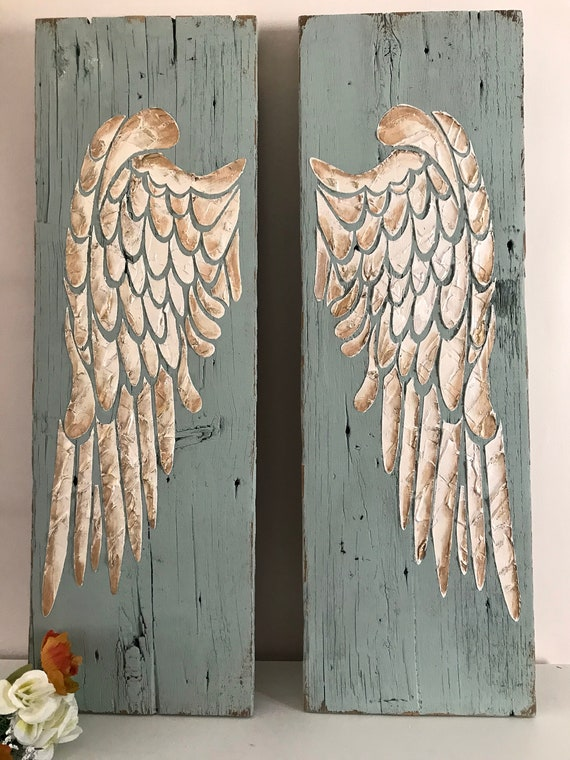 Angel Wings Wall Decor, Large Angel Wings, Angel Wing Wall Art, Wood Angel  Wings, Recycled Wood, Distressed Wood Sign, Nursery Gift