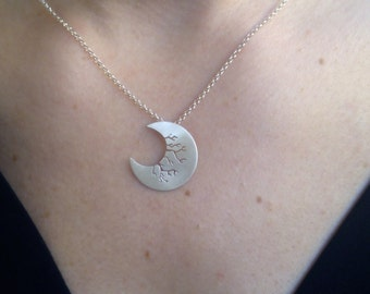 Crescent Moon, Moon Necklace, Layered Necklace, Silver Moon, Moon Pendant, Half Moon Necklace, Gift for Her, Crescent Necklace, Handmade