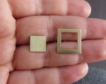 Minimalist Geometric Earrings, Handmade Square Earrings, Brass Earrings, Christmas Gift, Geometric Earrings, Minimal Earrings, Square Studs