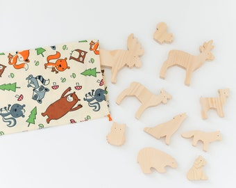 Wooden forest animals - Wooden animal toys -  Wood toy animals