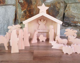 Wooden nativity scene - Christmas decor - Wooden nativity set - Christmas nativity - Nativity decoration - Christmas in July