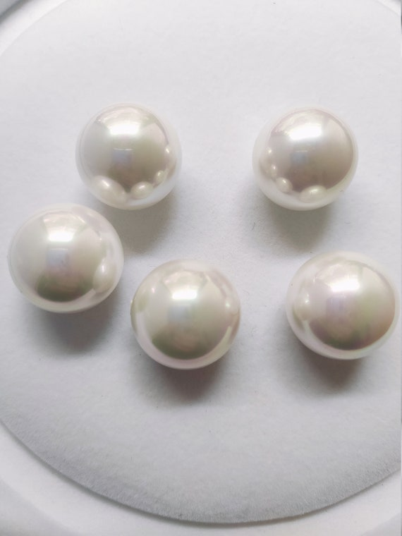 100 Ivory Plastic Round 10mm Half Drilled Faux Pearl DIY Earring Ring Match