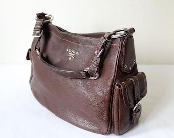 Prada vintage brown leather bag bb6dbaddff8d
