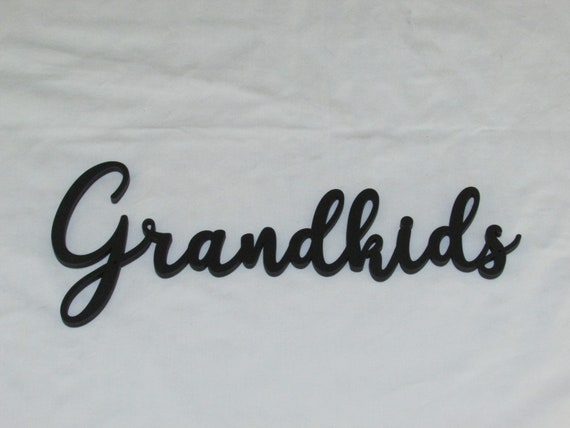 Grandkids Script Wood Wall Word Art Decor Grand Kids Etsy