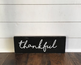 Thankful, thankful wood sign, small thankful sign
