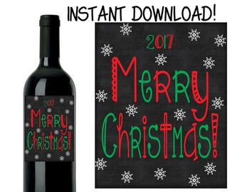 Christmas Wine Label - Merry Christmas Wine Label - Custom Christmas Wine Label - DIY INSTANT DOWNLOAD