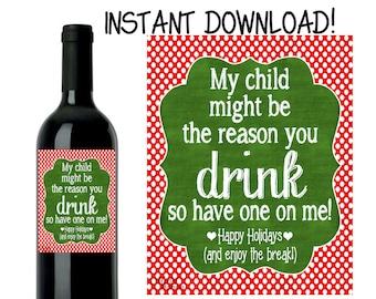 Teacher Wine Label, Teacher Gift, Teacher Christmas Wine Label, Christmas Wine Label, INSTANT DOWNLOAD DIY
